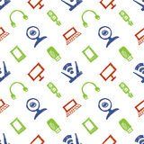 Seamless vector pattern, colorful background with monitor, notebook, router, usb and microphone. Hand sketch drawing. Stock Photo