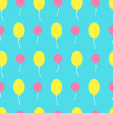 Seamless vector pattern with colorful balloons in the sky. Royalty Free Stock Images