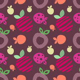 Seamless vector pattern with colorful different decorative ornamental cute strawberries on the dark violet background. Royalty Free Stock Images