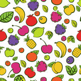 Seamless vector pattern with colorful doodle juicy fruits.  Stock Images