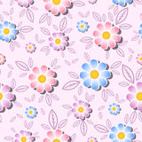 Seamless vector pattern with colorful flowers and leaves on a gentle pink background. Floral print fabric. Stock Photo