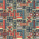 Seamless vector pattern. Colorful geometrical background with hand drawn decorative tribal elements. Print with ethnic, folk, trad. Itional motifs. Graphic royalty free illustration