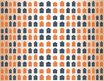 Seamless vector pattern with colorful houses Royalty Free Stock Photo