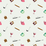 Seamless vector pattern with colorful kitchenware on the grey background Stock Images