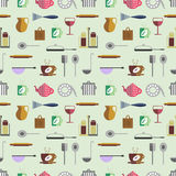 Seamless vector pattern with colorful kitchenware on the grey background Royalty Free Stock Photography