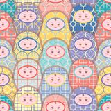 Seamless vector pattern of colorful matryoshka doll with geometric design dresses. vector illustration