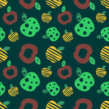 Seamless vector pattern with colorful ornamental. Different apples on the dark green background. Repeating ornament. Series of Fruits and Vegetables Seamless Royalty Free Stock Images