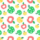 Seamless vector pattern with colorful ornamental different apples on the white background. Repeating ornament. Series of Fruits and Vegetables Seamless Royalty Free Stock Photography