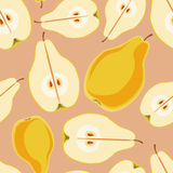 Seamless vector pattern with colorful pears. Sliced in half with seed. Template for design fabric, backgrounds, wrapping paper, package, covers, for cards Royalty Free Stock Photo