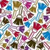 Seamless vector pattern with colorful renovation and repair. Instruments, brushes for wall painting. Graphic 3d reparation tools. High quality building theme Royalty Free Stock Images