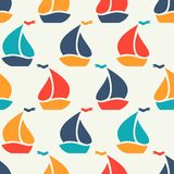 Seamless vector pattern of colorful sailboat shape Stock Photos
