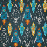 Seamless vector pattern of colorful spaceships. Seamless vector pattern of colorful kid hand drawn style rockets Royalty Free Stock Image