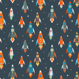 Seamless vector pattern of colorful spaceships Stock Photography