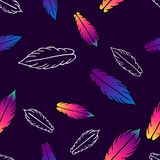Seamless vector pattern with colorful stylized feathers stock illustration