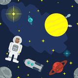 Seamless vector pattern of cosmic bodies, rockets and astronauts. Space Adventures for your design. Stock Images