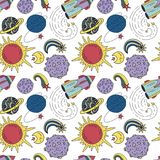 Seamless pattern with cosmos doodle illustrations. Seamless vector pattern with cosmos doodle illustrations. Galaxy handdrawn elements Stock Photography