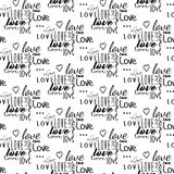 DIVERSE FONTS LOVE. TYPOGRAPHY SEAMLESS VECTOR PATTERN. LOVE AND HEART TEXTURE. SEAMLESS VECTOR PATTERN. CRAZY ELEMENTS FOR VALENTINES DAY. TYPOGRAPHY LOVE TEXT Stock Photography