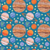 Doodle solar system seamless vector pattern stock illustration