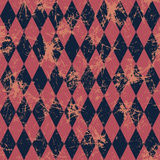 Seamless vector pattern. Creative geometric blue and red background with rhombus. Grunge texture with attrition, cracks and ambrosia. Old style vintage design Stock Images