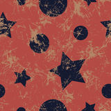 Seamless vector pattern. Creative geometric blue and red background with stars and circles Stock Photos