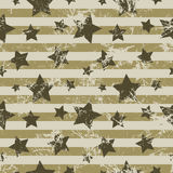 Seamless vector pattern. Creative geometric brown background with stars and stripes. Stock Photo