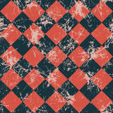 Seamless vector pattern. Creative geometric checkered black and red background with rhombus. Stock Photos