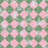 Seamless vector pattern. Creative geometric checkered green and pink background with rhombus. Royalty Free Stock Photography