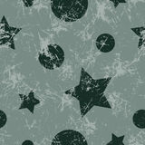 Seamless vector pattern. Creative geometric gray background with stars and circles. Stock Photography