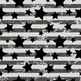 Seamless vector pattern. Creative geometric gray background with stars and stripes Stock Image