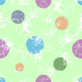 Seamless vector pattern. Creative geometric green pastel background with colorful circles. Stock Photos
