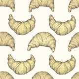 Seamless vector pattern with croissant. Fresh baking food. Croissant vintage background. Hand drawn pastry illustration. Seamless vector pattern with croissant Royalty Free Stock Photo