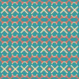 Seamless vector pattern of crossed geometric shapes. Abstract seamless vector pattern of criss-crossed geometric shapes. Yellow, red and blue retro colors Stock Photos