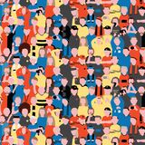 Seamless vector pattern of crowd people at football stadium. Sports fans cheering on their team Pattern illustration in cartoon st Royalty Free Stock Photos