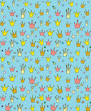Seamless vector pattern of the crown princess Stock Image