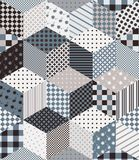 Seamless vector pattern with cubes and stars from patches. Patchwork. Seamless vector pattern with cubes and stars from patches. Patchwork background in grey Stock Photo