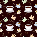 Seamless vector pattern with cup of coffee. S and hearts Royalty Free Stock Images