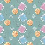 Seamless vector pattern with cups in knitted covers, filled with a hot drink, lemon wedges and composition of purple hearts and sn Royalty Free Stock Images