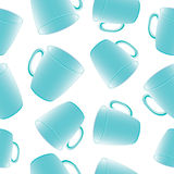 Seamless vector pattern with cups, mugs. Royalty Free Stock Photography