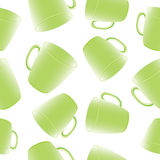 Seamless vector pattern with cups, mugs. Stock Photography