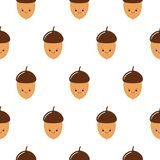 Seamless vector pattern cute acorns. For autumn greeting cards, t-shirt prints, birthday, scrapbook, wallpaper, gift paper, royalty free illustration
