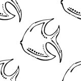 Seamless vector pattern, cute background with animals. Black and white fish, symmetrical simple print for wallpaper, wrapping,. Packing, packaging royalty free illustration