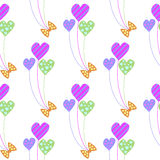 Seamless vector pattern. Cute background with colorful balloons in the shape of hearts. On the white backdrop Royalty Free Illustration