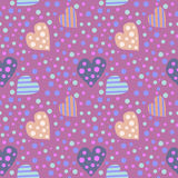 Seamless vector pattern. Cute background with colorful hearts and dots on the violet backdrop.  Royalty Free Stock Photography