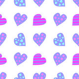 Seamless vector pattern. Cute background with colorful hearts on the white backdrop Stock Image