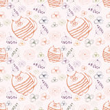 Seamless vector pattern. Cute background with hand drawn cats and flowers. Royalty Free Stock Photography