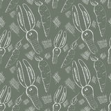 Seamless vector pattern. Cute background with hand drawn rabbits and carrot. Stock Images