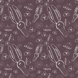 Seamless vector pattern. Cute background with hand drawn rabbits and flowers. Royalty Free Stock Image