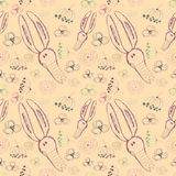 Seamless vector pattern. Cute background with hand drawn rabbits and flowers. Royalty Free Stock Photography