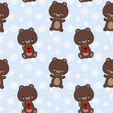 Seamless vector pattern with cute bears. Holding cofee cups Royalty Free Stock Images