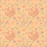 Seamless vector pattern. Cute beige background with colorful hand drawn cats, mouses and flowers. Stock Photography